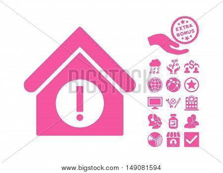 Danger Building icon with bonus elements. Vector illustration style is flat iconic symbols pink color white background.