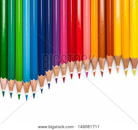 Colour pencils isolated on white background close up