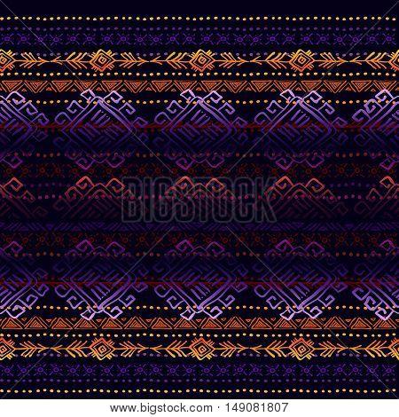Dark horizontal seamless border pattern with tribal ornament ethnic stripes in black background. Geometric colorful design. Vector illustration stock vector.