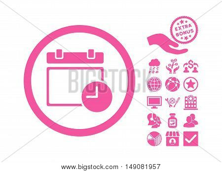 Date and Time icon with bonus clip art. Vector illustration style is flat iconic symbols pink color white background.