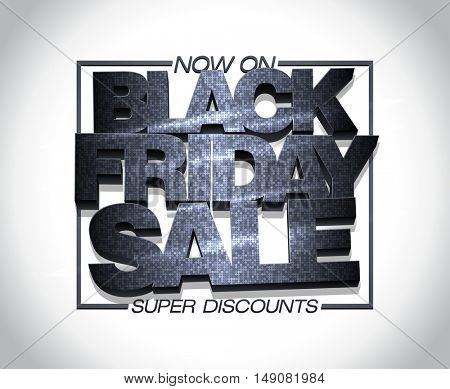 Black friday sale design, super discounts now on, fashion  clearance banner concept with mosaic text