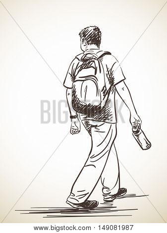 Sketch of man walking with bottle and backpack, From back, Hand drawn illustration