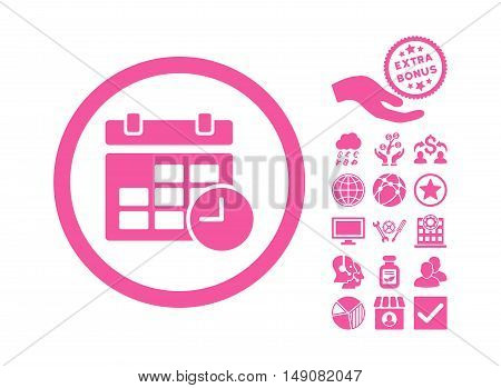 Date and Time icon with bonus design elements. Vector illustration style is flat iconic symbols pink color white background.