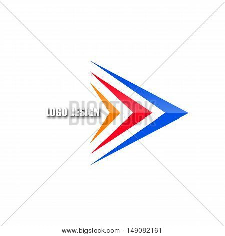 Logo template from the set of colored arrows bright abstract icon isolated on a white background vector illustration.