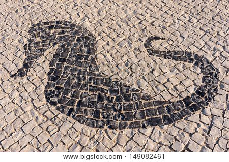 Typical portuguese cobblestone handmade pavement with sea horse in Portugal