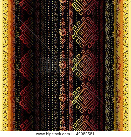 Darck vertical seamless pattern with tribal ornament ethnic stripes in black background. Geometric colorful design. Vector illustration stock vector.