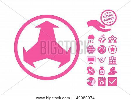 Directions icon with bonus clip art. Vector illustration style is flat iconic symbols pink color white background.