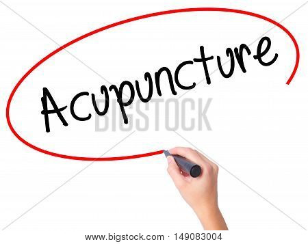 Women Hand Writing Acupuncture With Black Marker On Visual Screen.