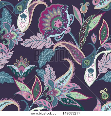 Fantasy flowers seamless paisley pattern. Floral ornament on dark background for fabric textile cards wrapping paper wallpaper template.Ornamental bright motif