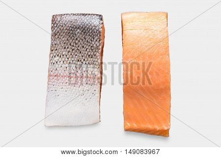 Mockup Fresh Salmon Fillet Set Isolated On White Background. Clipping Path Included On White Backgro