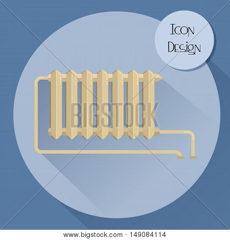 Cast iron heating radiator. Design icons in flat style. Vector illustration.