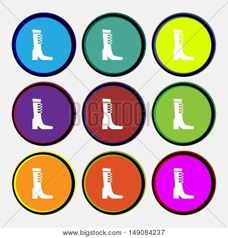 Female Fall And Winter Shoe, Boot Icon Sign. Nine Multi Colored Round Buttons. Vector