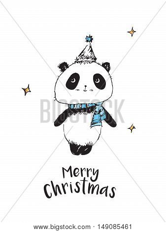 Merry Christmas. Happy New Year 2017. Christmas greeting card with cute panda. Hand drawn panda for your design. Doodles, sketch. Vector.