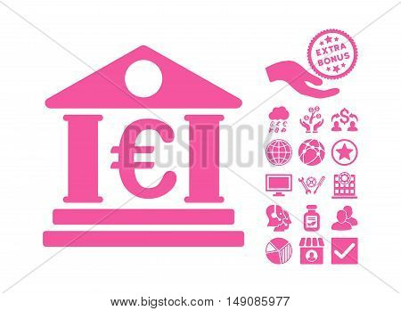 Euro Bank Building icon with bonus clip art. Vector illustration style is flat iconic symbols pink color white background.