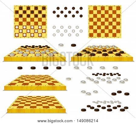 Set of Chessboard and Checkers separate images. Digital painting full color cartoon style illustration isolated on white background.