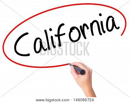 Women Hand Writing California With Black Marker On Visual Screen