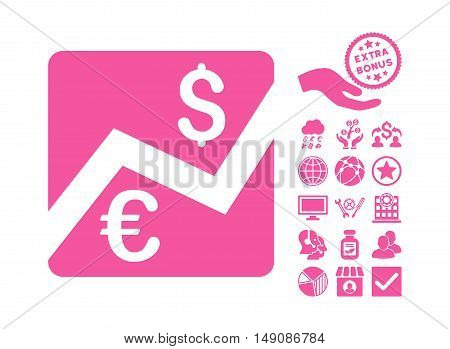 Euro Forex Market pictograph with bonus pictograph collection. Vector illustration style is flat iconic symbols pink color white background.
