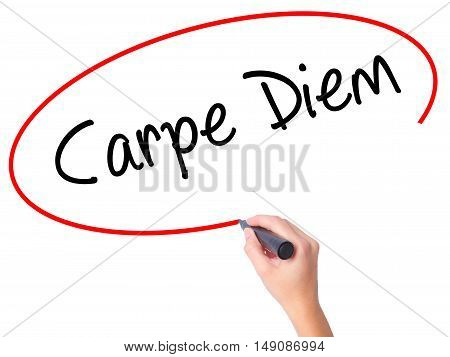 Women Hand Writing Carpe Diem With Black Marker On Visual Screen