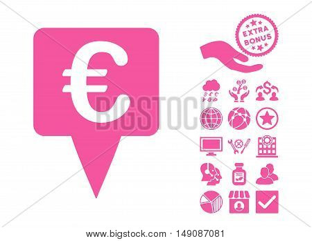 Euro Map Pointer pictograph with bonus symbols. Vector illustration style is flat iconic symbols pink color white background.