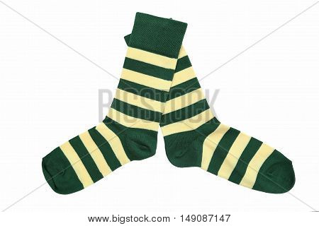 St. Patrick's socks yellow green on a white background