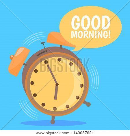 Ringing Alarm Clock. Good Morning. Flat Design. Vector illustration