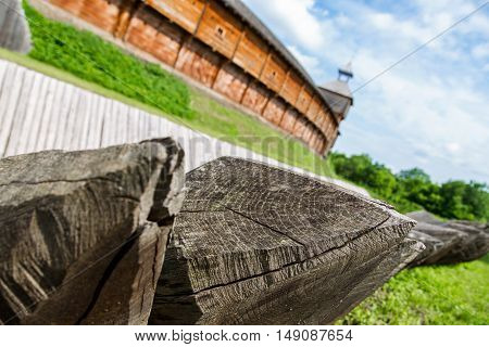 strengthening of the wooden palisade. part of an ancient fortress