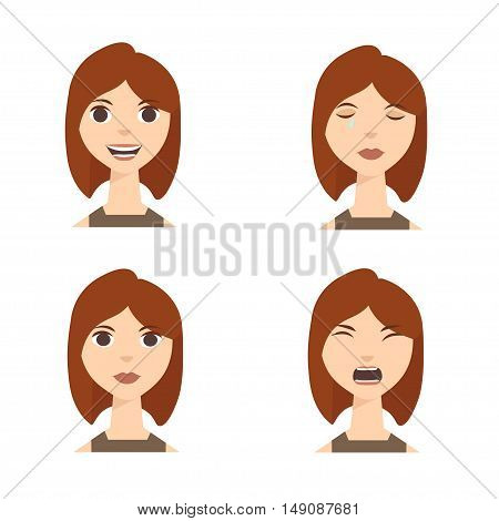 Different Emotions. Set of Woman or Girl Expression. Vector illustration