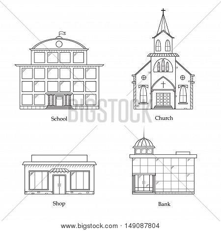 Linear Buildings Set. School, Church, Bank and Shop Vector illustration