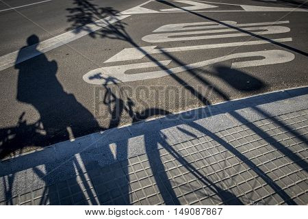 Street With Traffic Sign And Bicycle Shadow In Sant Cugat Del Valles Barcelona