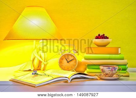 Lamp books hours cup of tea plate of cherry. 3D illustration