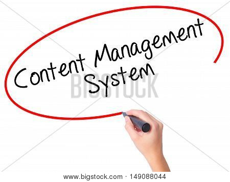 Women Hand Writing Content Management System  With Black Marker On Visual Screen