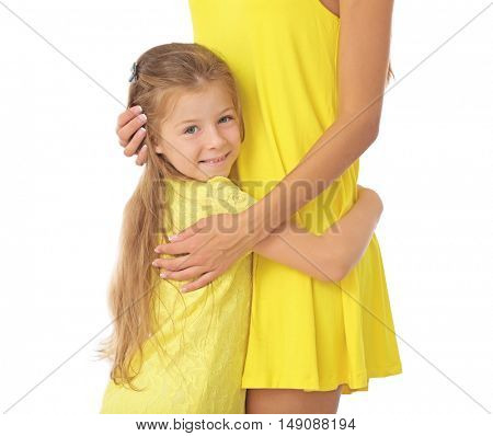 Cute girl with mother on white background