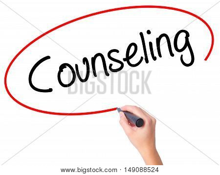 Women Hand Writing Counseling With Black Marker On Visual Screen