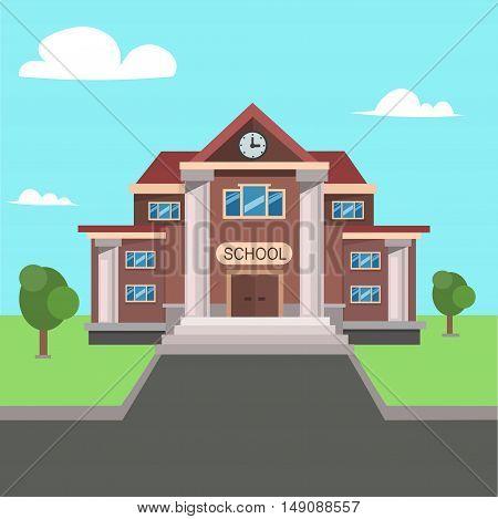 School Front View. Flat Design. Vector illustration
