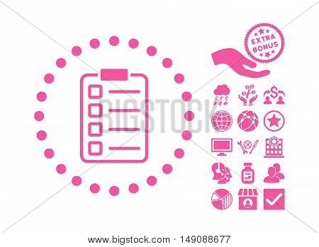 Examination pictograph with bonus pictograph collection. Vector illustration style is flat iconic symbols pink color white background.
