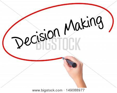 Women Hand Writing Decision Making With Black Marker On Visual Screen