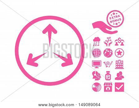 Expand Arrows icon with bonus pictures. Vector illustration style is flat iconic symbols pink color white background.