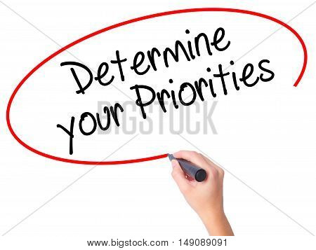 Women Hand Writing Determine Your Priorities With Black Marker On Visual Screen
