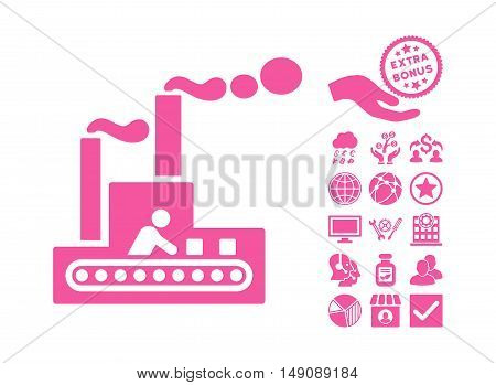 Fabric Building pictograph with bonus images. Vector illustration style is flat iconic symbols pink color white background.