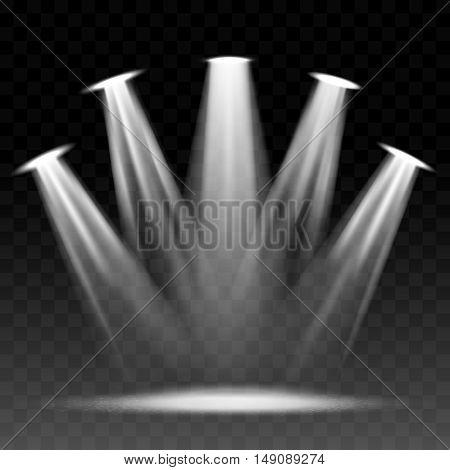 Searchlight illuminated scene. Vector spotlights or flashlight shining illumination vector illustration