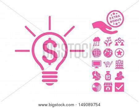Financial Idea Bulb icon with bonus symbols. Vector illustration style is flat iconic symbols pink color white background.