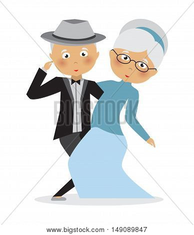Illustration of an Elderly Couple Dancing .