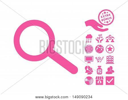Find icon with bonus pictograph collection. Vector illustration style is flat iconic symbols pink color white background.