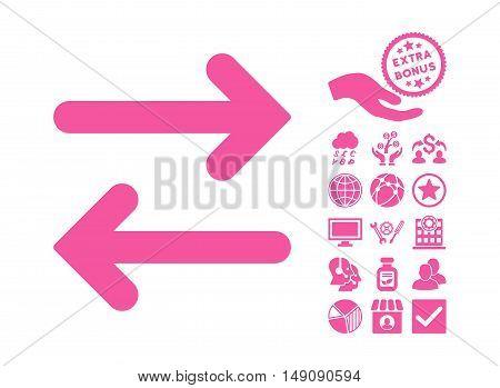 Flip Horizontal pictograph with bonus design elements. Vector illustration style is flat iconic symbols pink color white background.