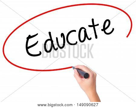 Women Hand Writing Educate With Black Marker On Visual Screen