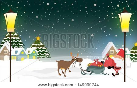 Santa Claus taking gift sack from sleigh on winter background for Merry Christmas celebration concept.