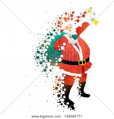 Santa Claus ringing bell for Merry Christmas celebration concept.
