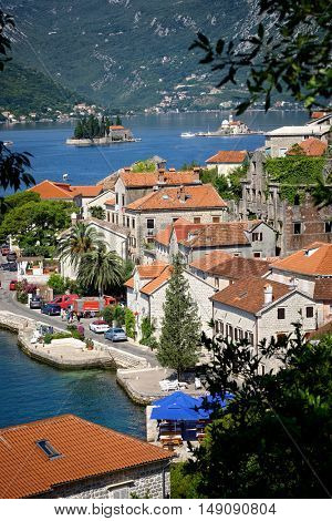 Perast and small islands in Kotor Bay, Montenegro