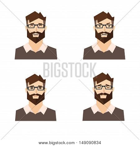 Different Emotions. Set of Man Expression. Vector illustration