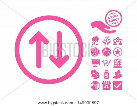 Flip pictograph with bonus clip art. Vector illustration style is flat iconic symbols pink color white background.